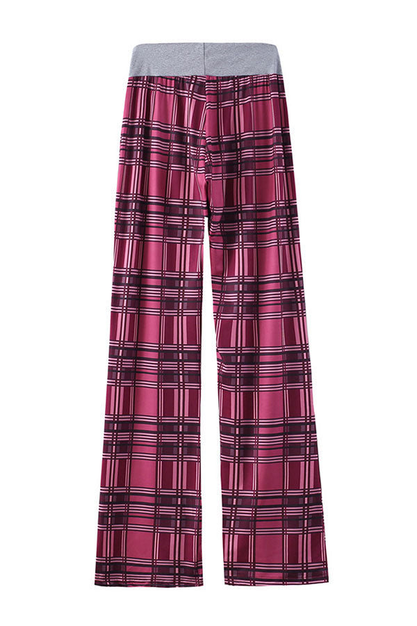 Casual Stretch High Waisted Plaid Print Lounge Pants