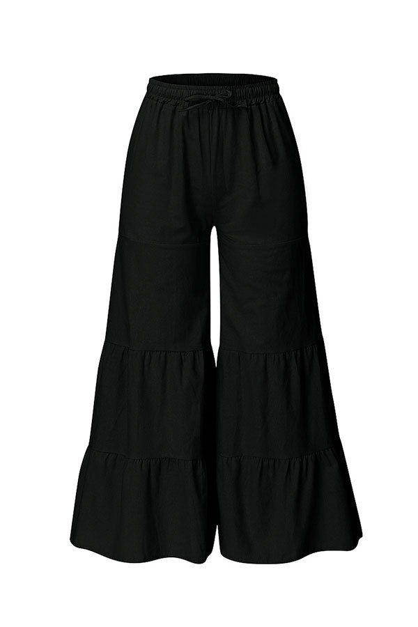 Wide Leg Drawstring Ruffle Solid Plus Size Bell Bottom Black
