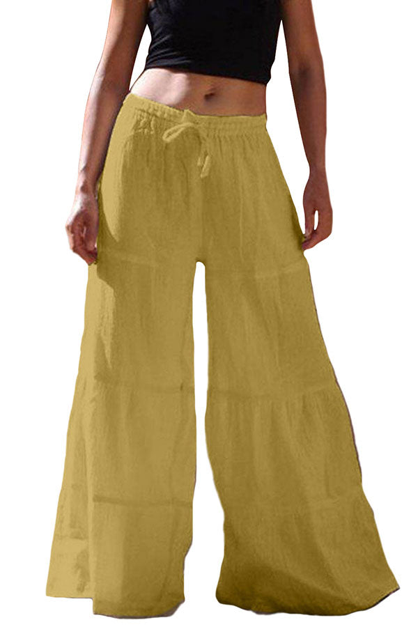Ruffle Wide Leg Plain Drawstring Plus Size Flare Pants Yellow