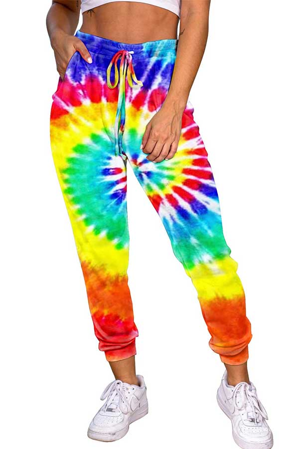 Drawstring High Waisted Pocket Tie Dye Jogger Sweatpants