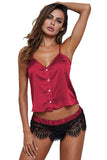 V Neck Button Front Plain Tank Top Sheer Lace Patchwork Pajama Set Ruby