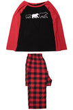 Bear Print Plaid Christmas Pajama Set Black