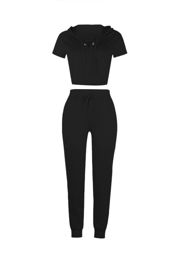 Short Sleeve Eyelet Lace Up Top Sweat Pants Leisure Suit Black