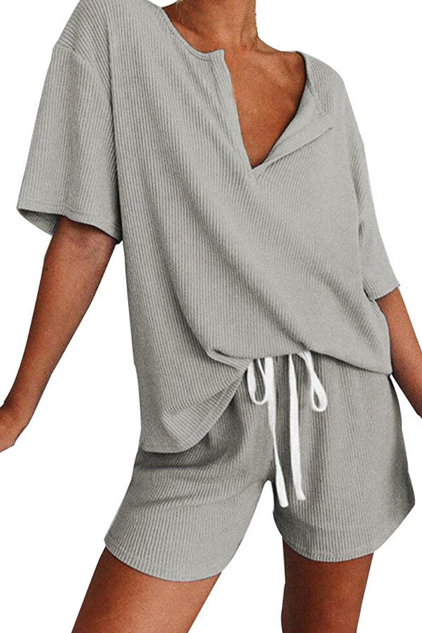 V Neck Half Sleeve Plain T-Shirt With Shorts Pajama Set Gray