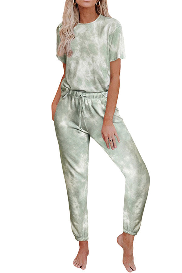 Short Sleeve Tie Dye T-Shirt Drawstring Pants Pajama Set