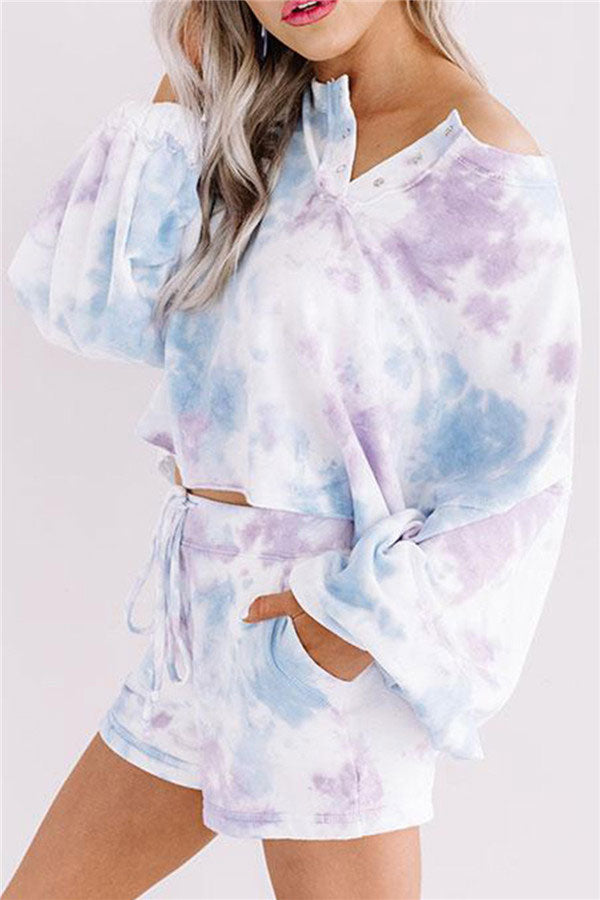 Women's Tie Dye Pajama Set Lantern Sleeve Snap Button With Shorts