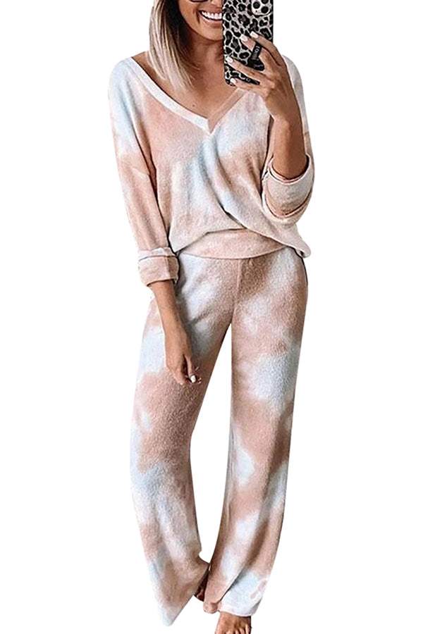 V Neck Long Sleeve Tie Dye Top With Pants Pajamas Set Loungewear