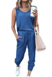 Women's Solid Sleeveless Tank Top And Jogger Pants Two Piece Tracksuit