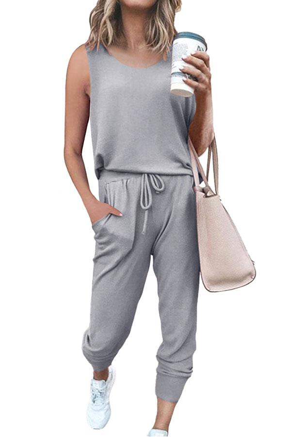Women's Casual Sleeveless Tank Top And Jogger Pants Tracksuit Set