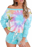 Tie Dye Printed Long Sleeve Tops And Shorts Pajamas Set