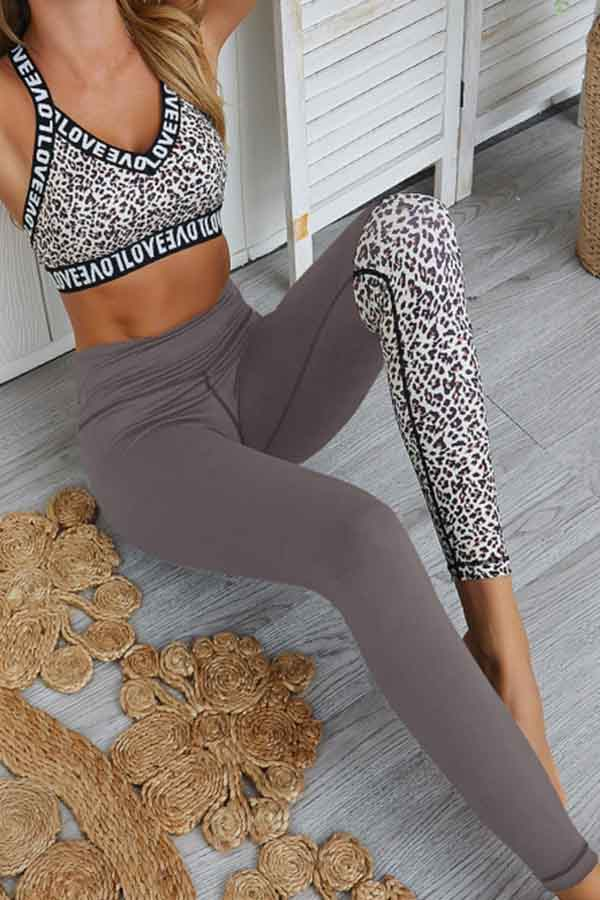 Leopard Bra High Waisted Legging Two Piece Yoga Outfit Set