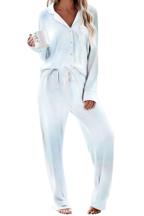 Long Sleeve Button Down Shirt Tie Dye Pants Pajama Set Light Blue