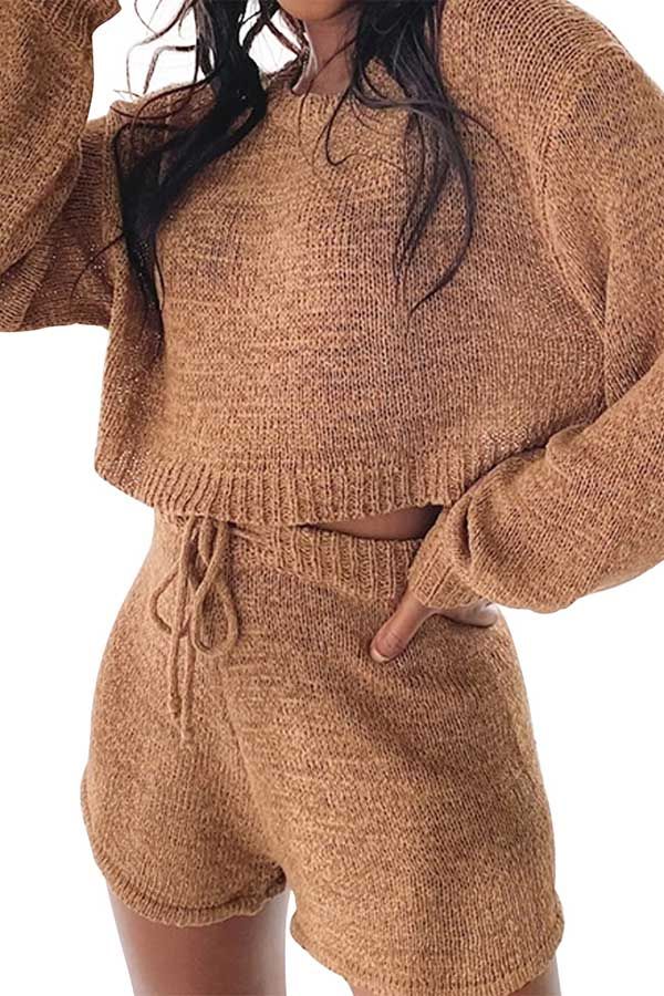Long Sleeve Crew Neck Crop Top Plain Shorts Knit Suit Brown