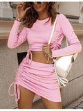 Two Piece Skirt Set Ruched Crop Top & Skirt Set