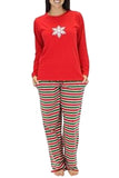 Womens Long Sleeve Stripe Snowflake Printed Christmas Pajama Set Red