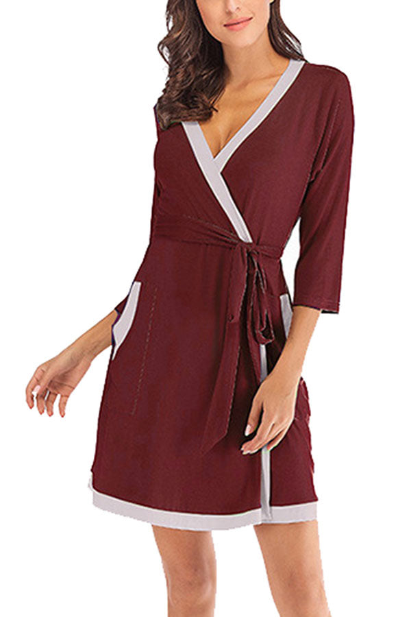 Color Block Short Wrap Robe Sleepwear With Waist Tie