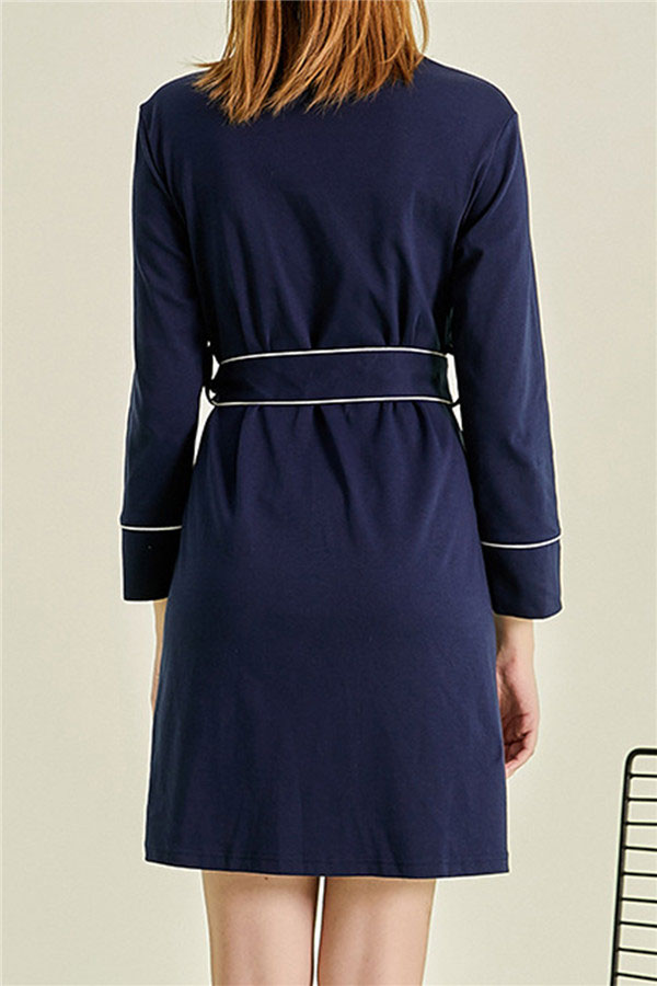Women's Long Sleeve Bath Short Bride Robe Navy Blue