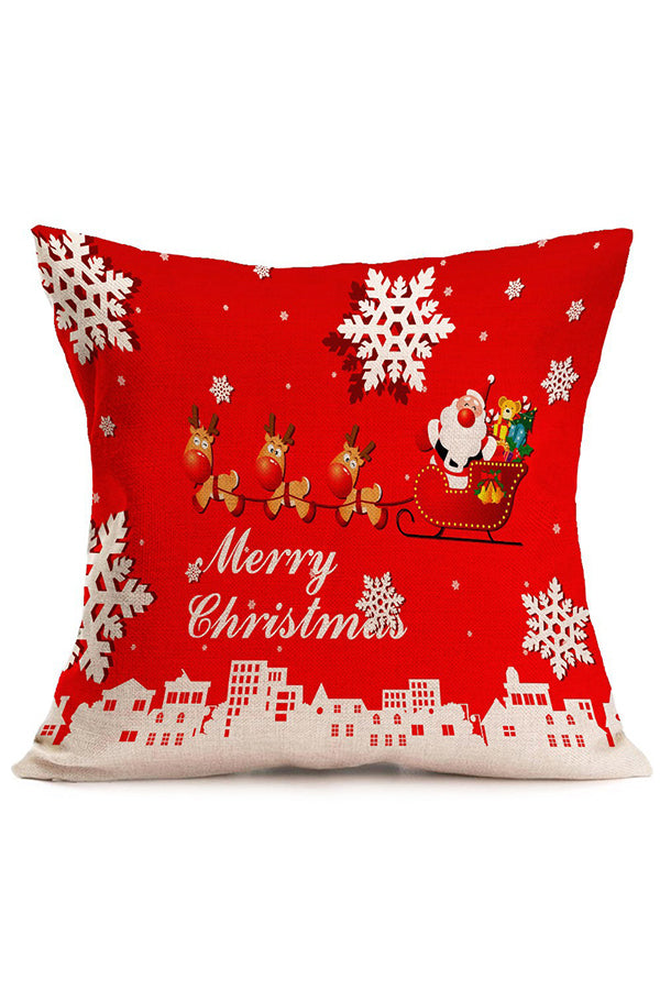 Santa Claus Reindeer Snowflake Print Christmas Throw Pillow Cover Red