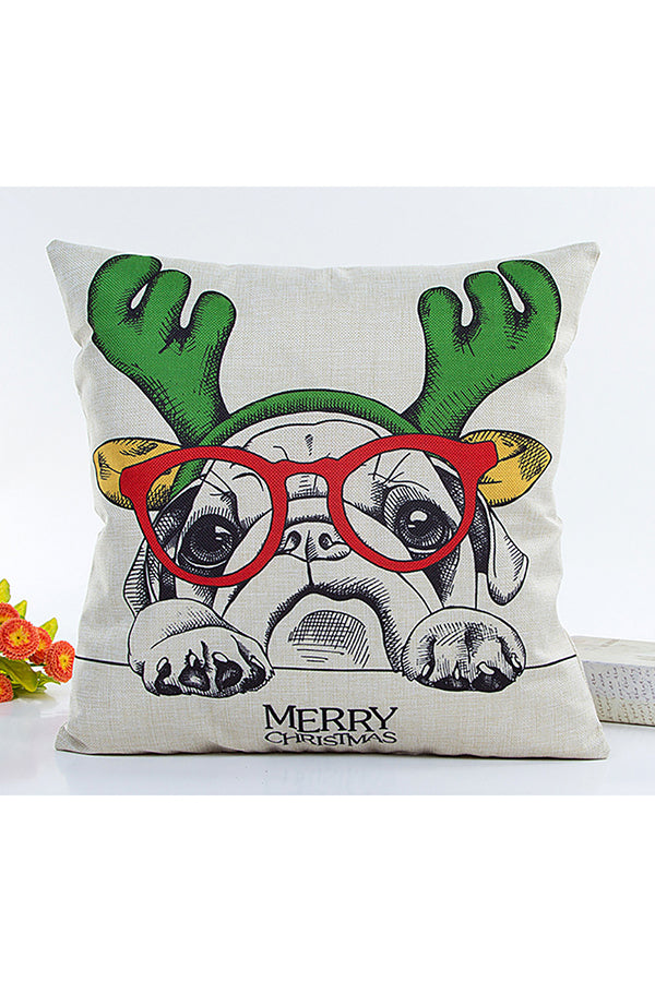Home Decor Cute Dog Print Merry Christmas Throw Pillow Cover