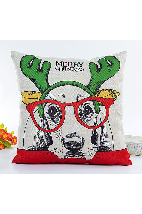 Home Decor Cute Dog Print Merry Christmas Throw Pillow Cover Red
