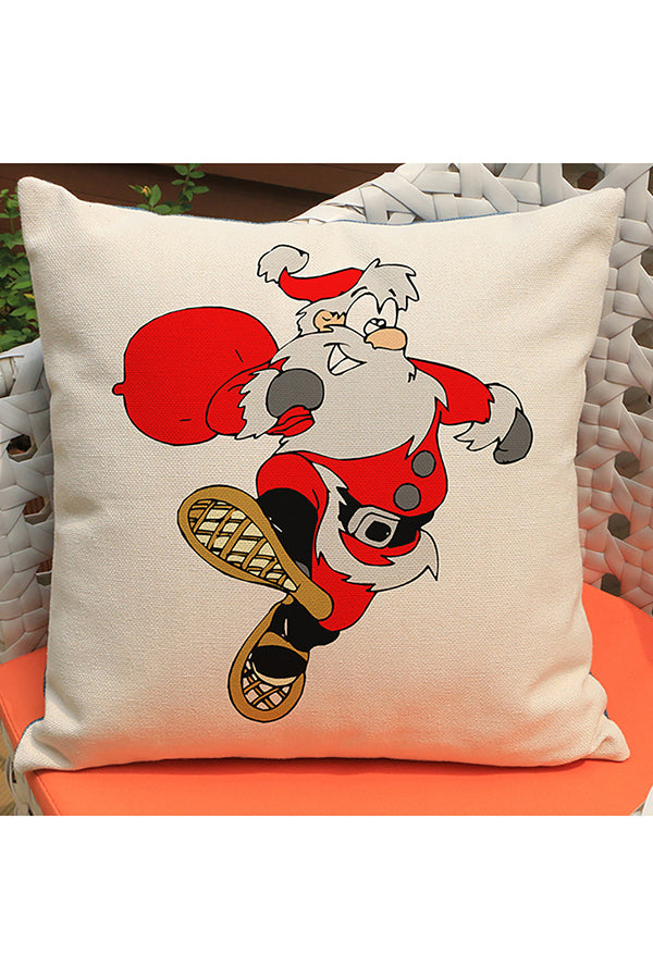 Home Decor Santa Claus Print Merry Christmas Throw Pillow Cover Red