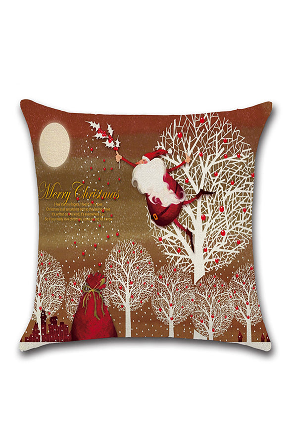 Santa Claus Trees Snowflake Print Merry Christmas Throw Pillow Cover