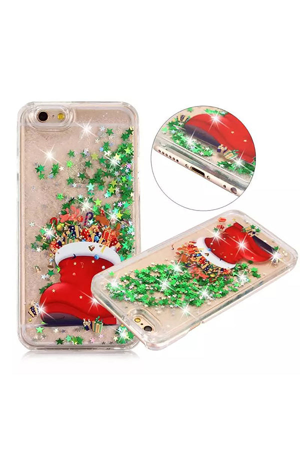 Glitter Stars Christmas Shoes Print Transparent Case For iPhone Green