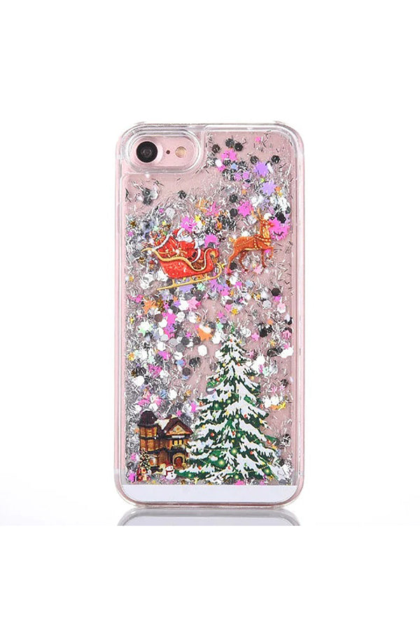 Glitter Christmas Tree Santa Claus Print Transparent Case For iPhone