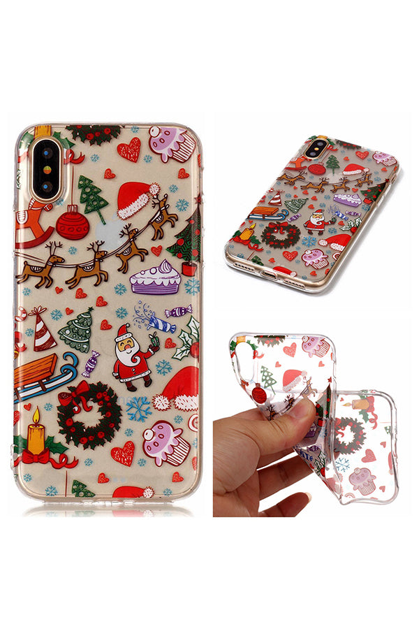 Christmas Tree Reindeer Gift Print Transparent Soft Case For iPhone