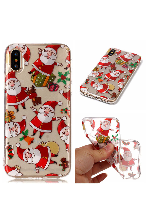 Christmas Santa Claus Gifts Print Transparent Soft Case For iPhone Red
