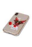 Christmas Gift Reindeer Print Transparent Soft Case For iPhone White