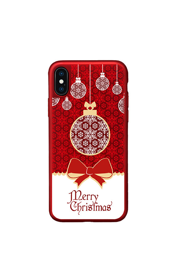Fashion Merry Christmas Frosting Case For iPhone Red