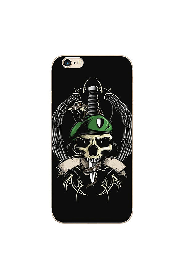 Funny Halloween Gift Skull Pattern Soft Case For iPhone Black