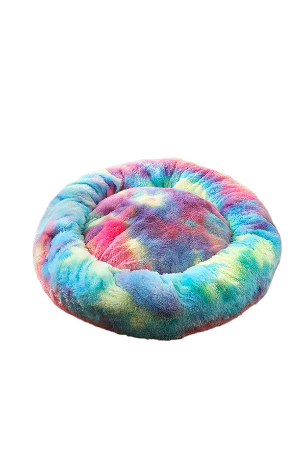 80CM Colorful Faux Fur Tie Dye Print Calming Donut Cuddler Pet Bed Blue