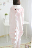 Pink Cute Ladies Dinosaur Jumpsuit Flannel Pajamas Costume