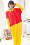Red Cute Flannel Pajamas Ladies Bear Jumpsuit Costume
