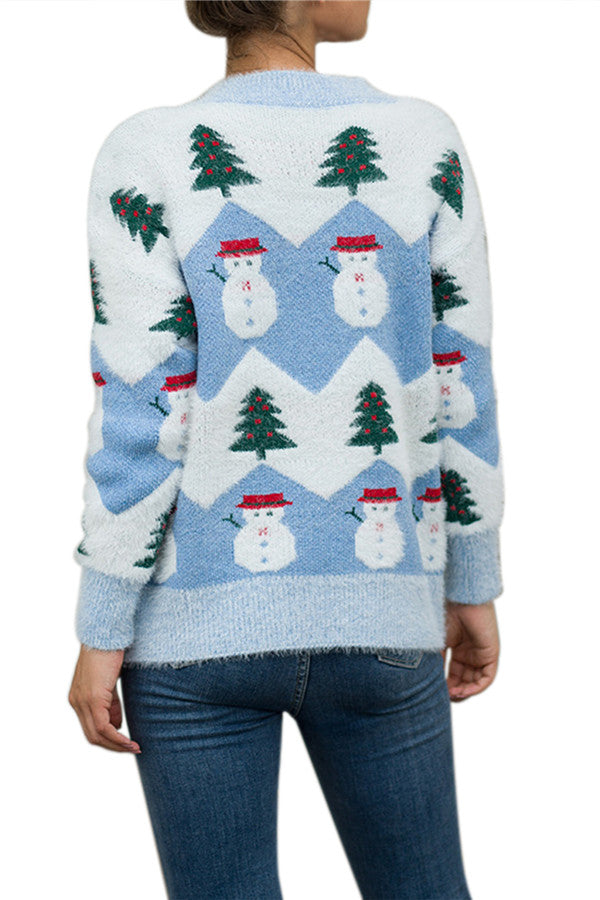 Christmas Tree Snowman Sweater Color Black Blue