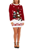 Reindeer Print Womens Christmas Dress Red