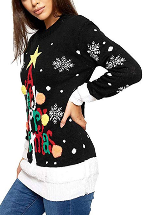 Letter Print Pullover Christmas Sweater Black