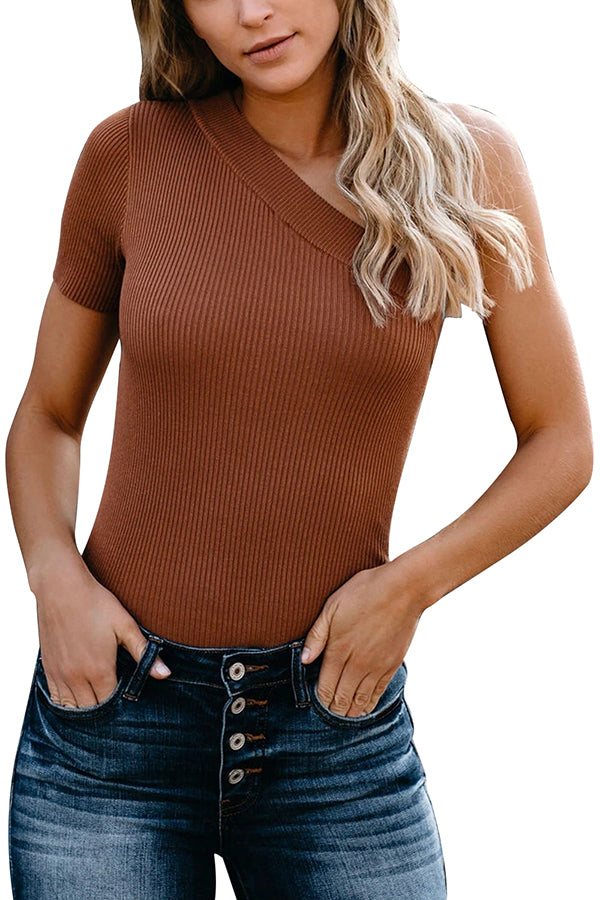 One Shoulder Ribbed Knit Plain T-Shirt Brown
