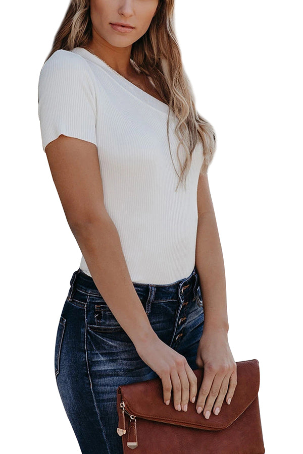 Solid One Shoulder Short Sleeve Ribbed T-Shirt White