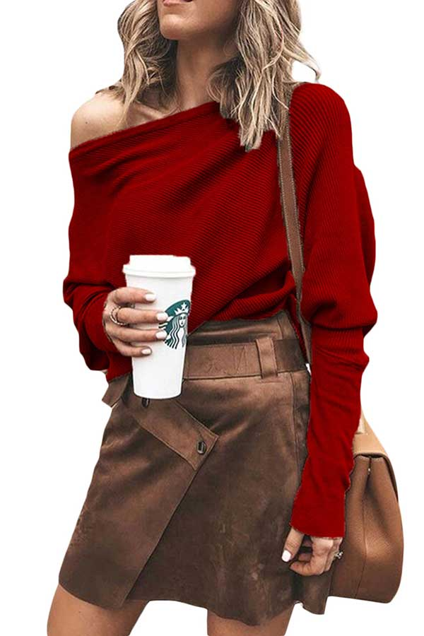 One Shoulder Dolman Sleeve Solid Knit Sweater Ruby