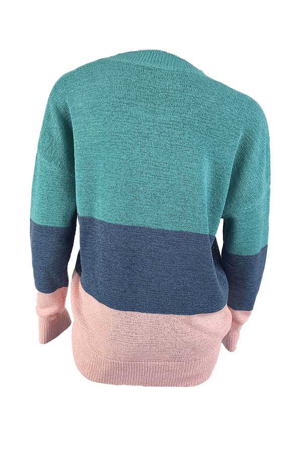 Casual Long Sleeve Color Block Oversized Sweater Turquoise