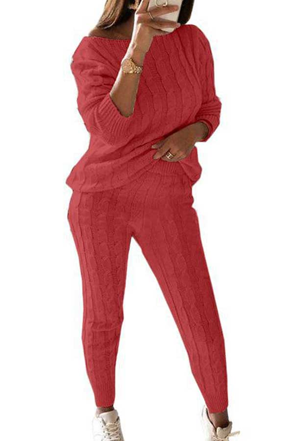 Casual Solid Long Sleeve Pants Plus Size Two Piece Sweater Suit