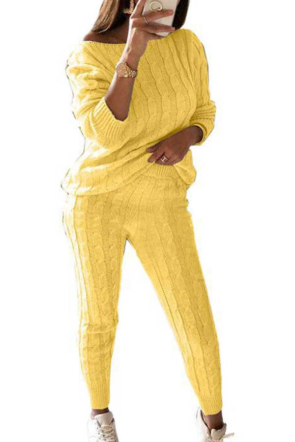 Cable Knit Long Sleeve Pants Plus Size Sweater Suit Yellow