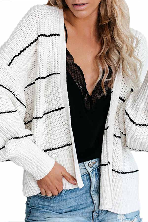 Open Front Striped Cropped Cardigan White