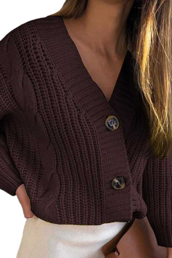 V Neck Drop Shoulder Chunky Cardigan With Button Brown
