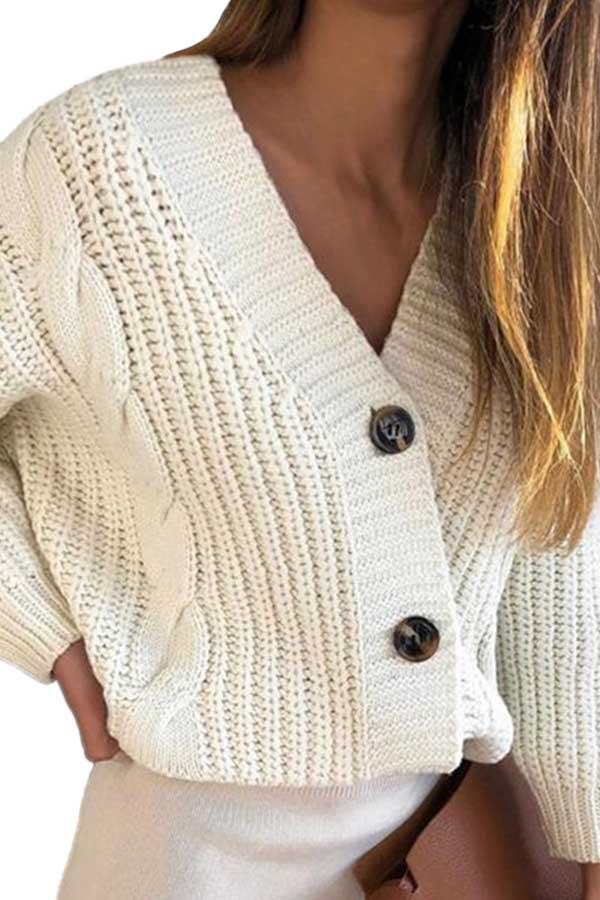 Casual Button Down Chunky Cardigan Sweater Ivory