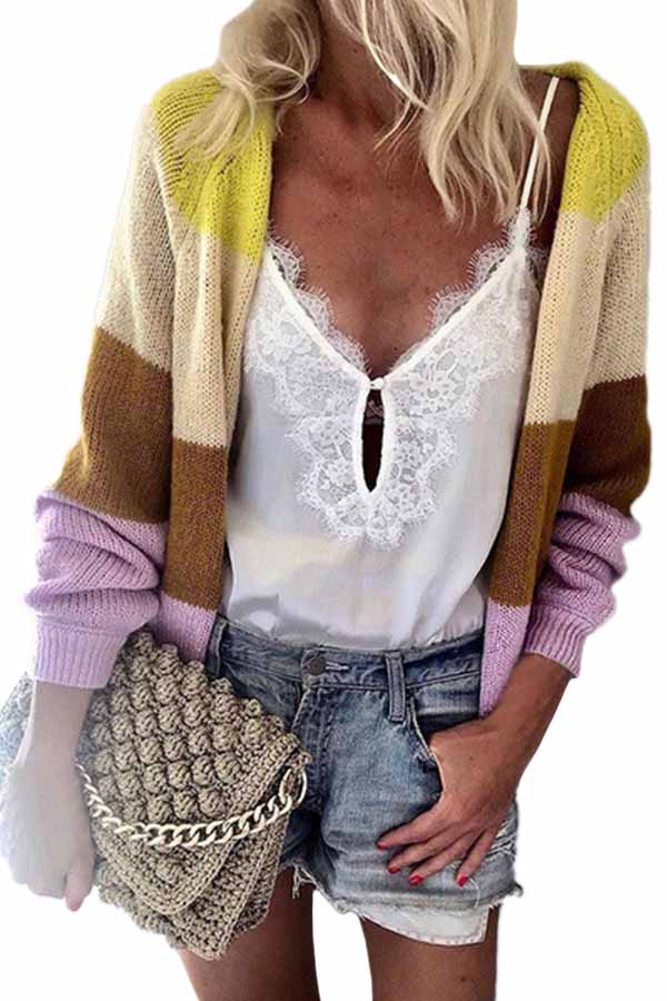 Open Front Striped Knit Cardigan Sweater Yellow