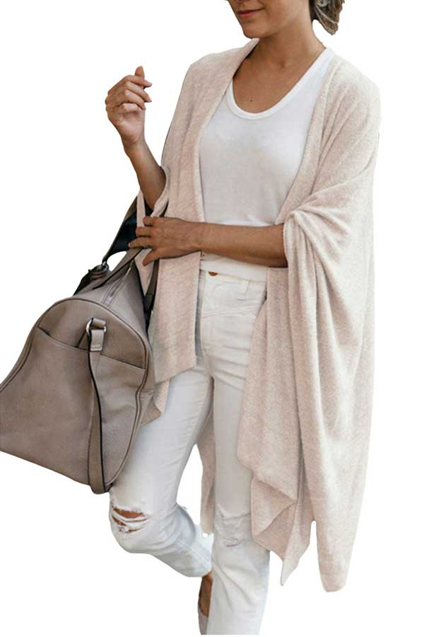 Solid Casual Knit Irregular Hem Cardigan Apricot